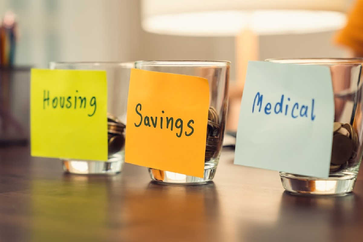 three glasses with sticky notes showing categories of spending with coins in each.
