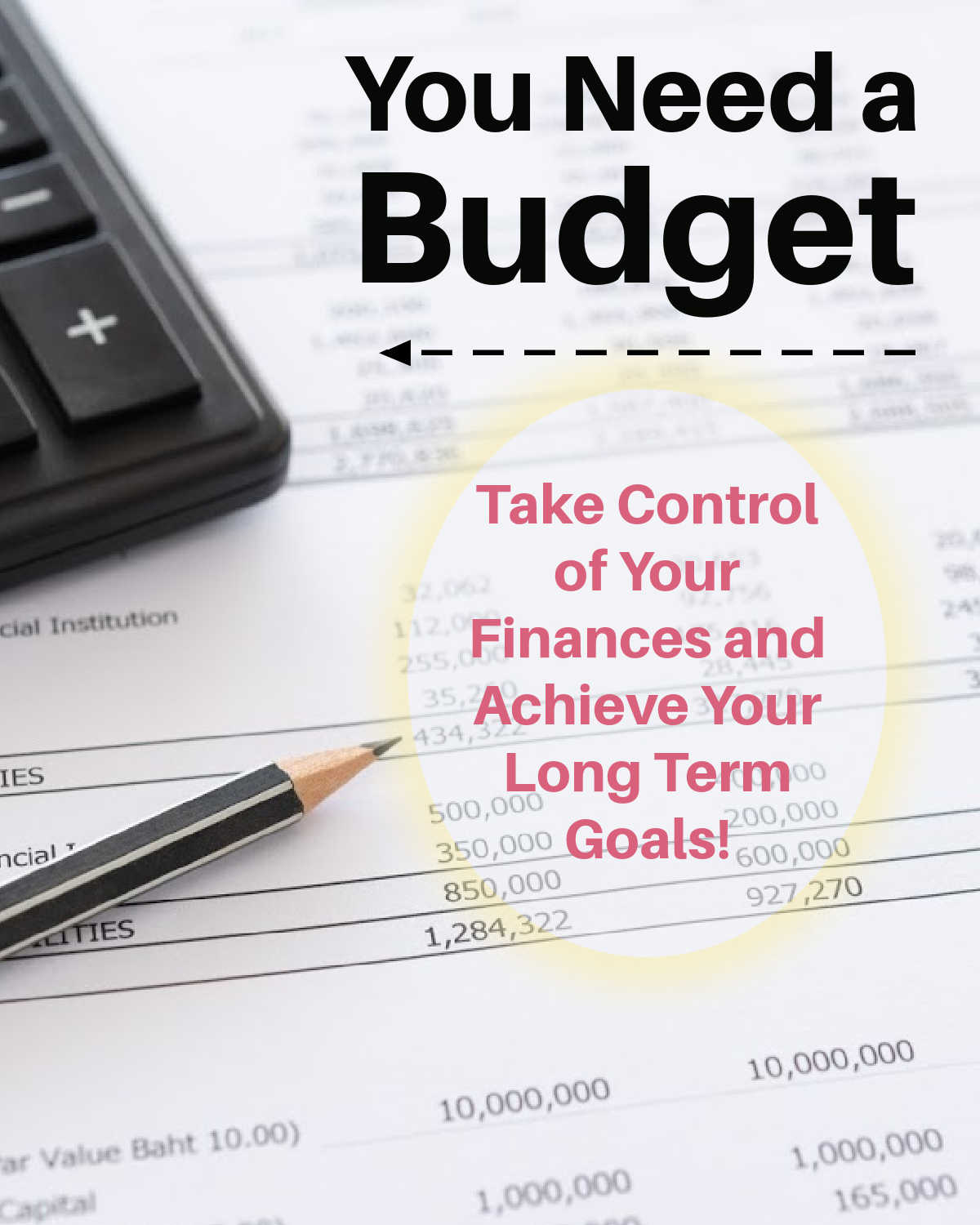 calculator and spreadsheet showing an old fashioned way to manage a budget.