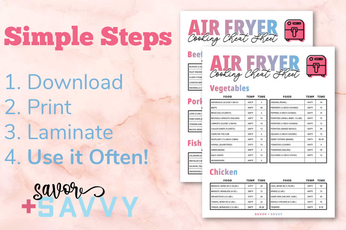 two air fryer printables and written instructions on how to use them.