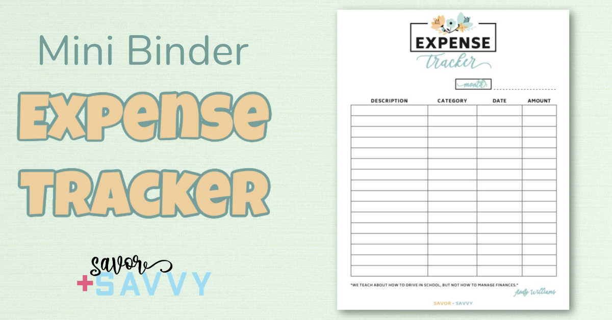 printable expense tracker with an inspirational quote.