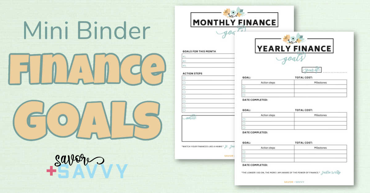 financial goals worksheets to help establish your targets.