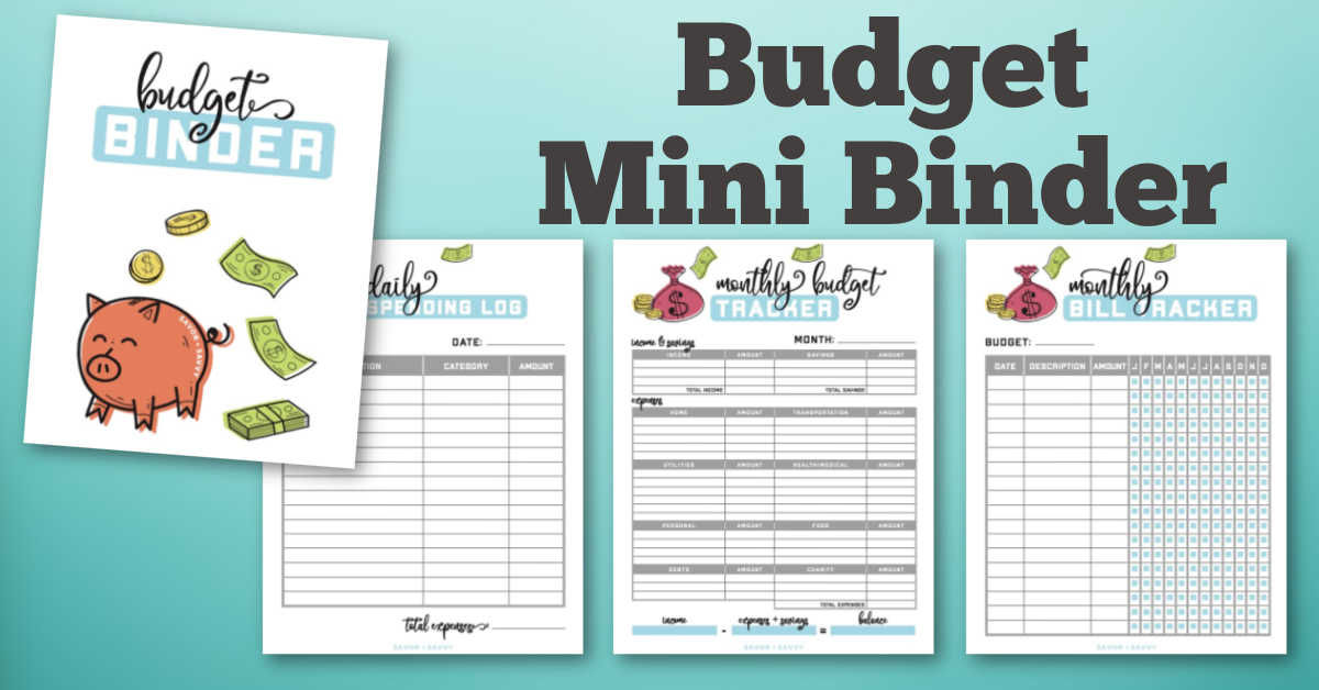 four worksheets in the mini budget binder to help with your finances.