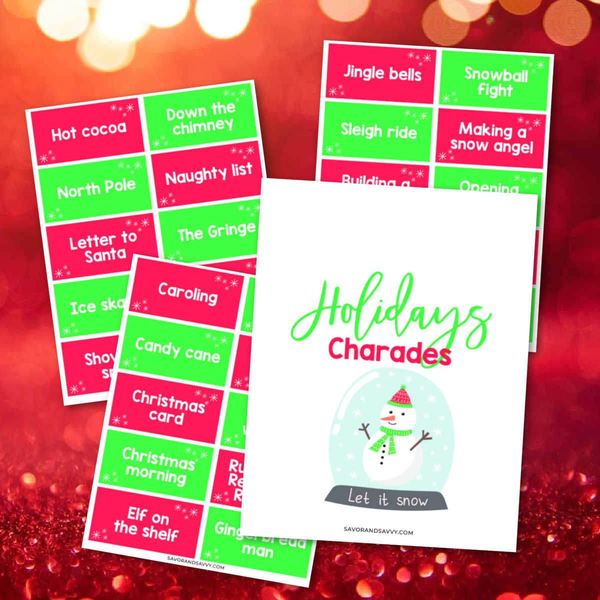 three free printable sheets with charades topics on a bright red background.