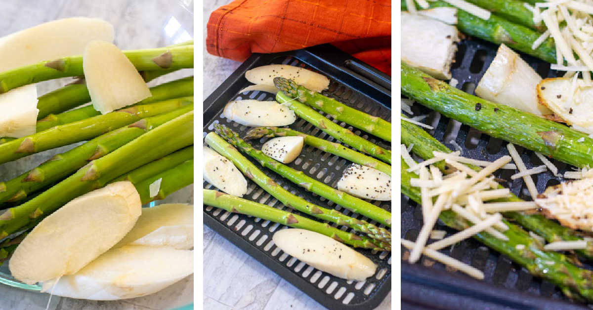 three photos showing how to slice, season and then air fry the asparagus.