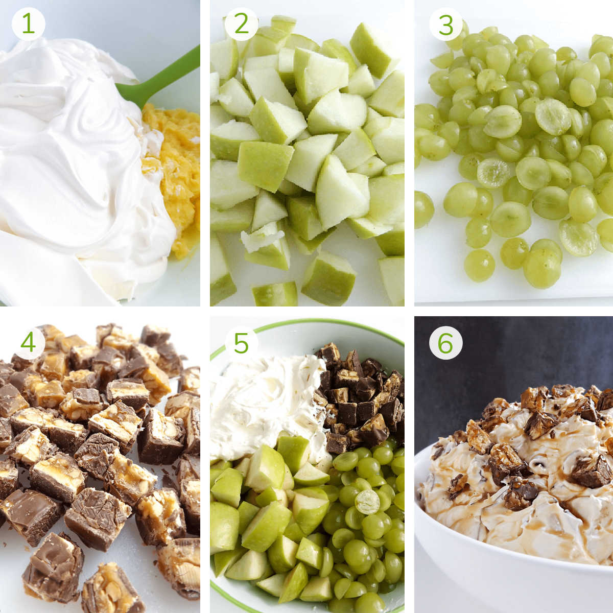 six process photos showing how to prepare this simple snickers salad,