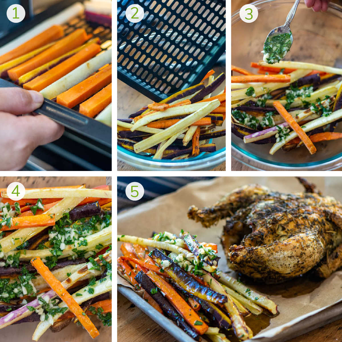 several process photos showing how to air fry the carrots and then mix with the garlic butter.
