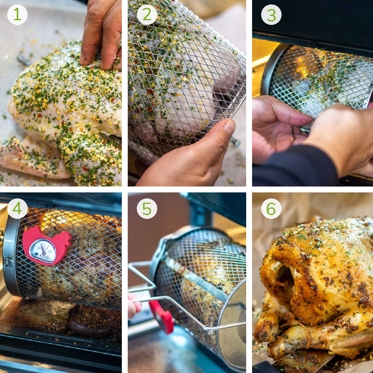 six process photos showing how to make the chicken in the rotisseries basket in the air fryer.
