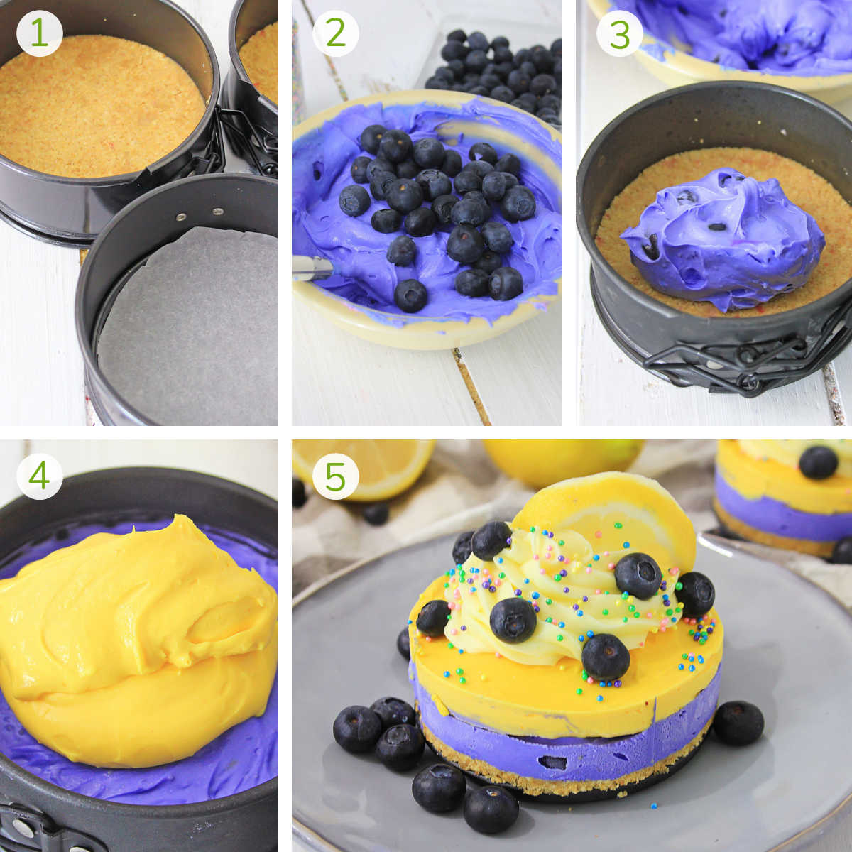 process shots showing the layering of the cheesecake and the final dessert.