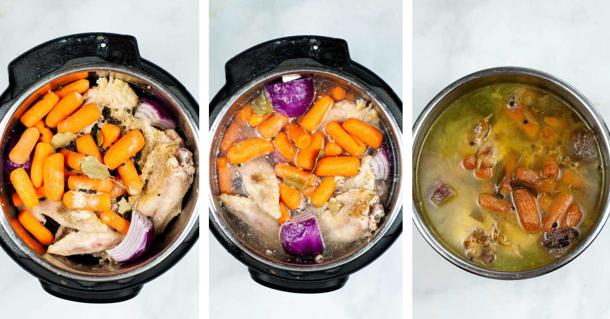 three process photos showing adding the ingredients, filling with water and after the pressure cooker finishes.