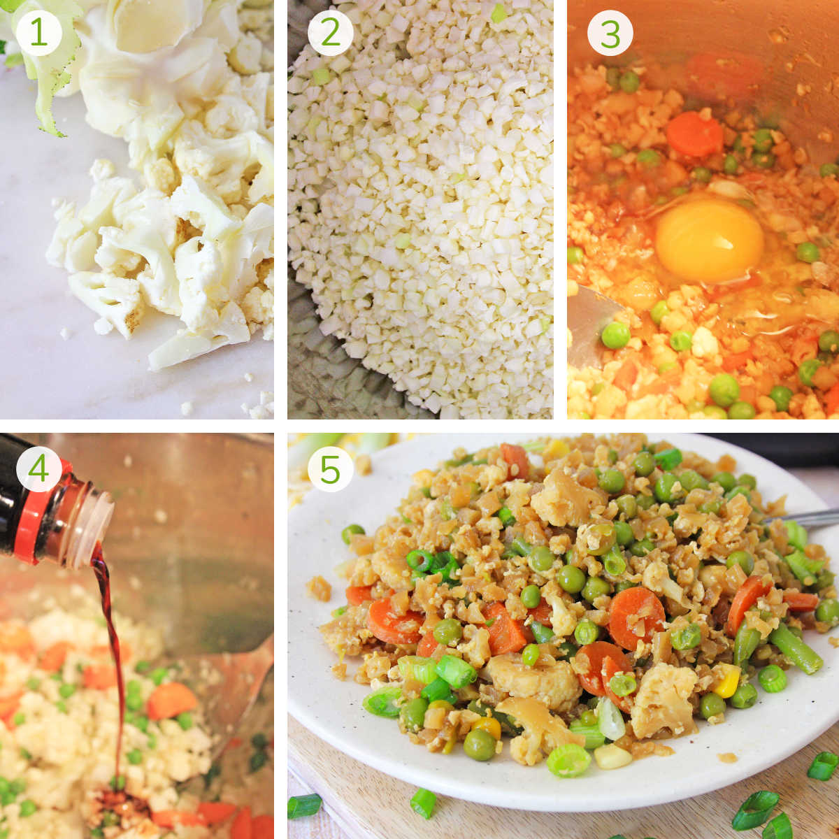 five process shots showing how to make cauliflower fried rice in the instant pot.