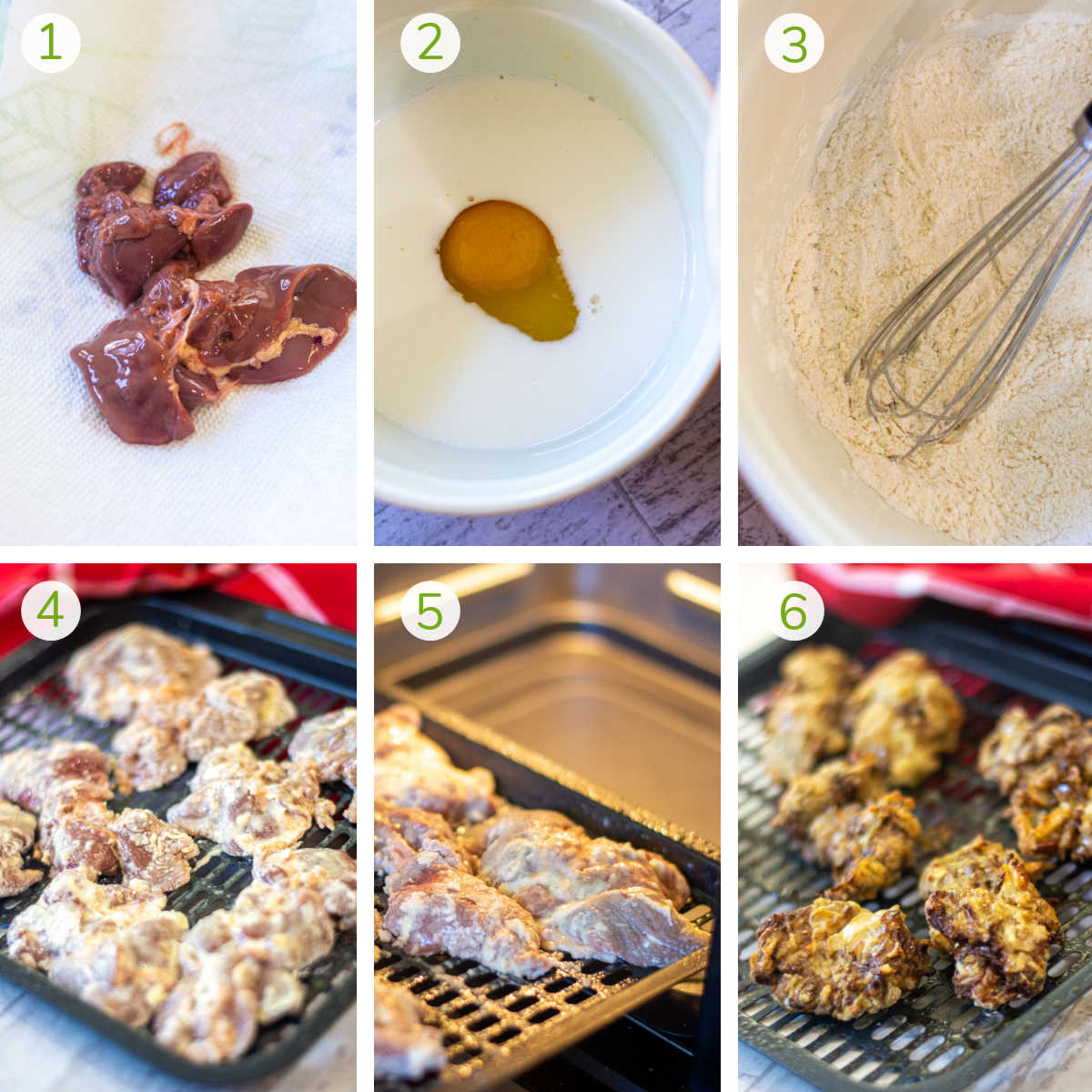 several process photos showing patting the liver, dipping it in flour and air frying it.