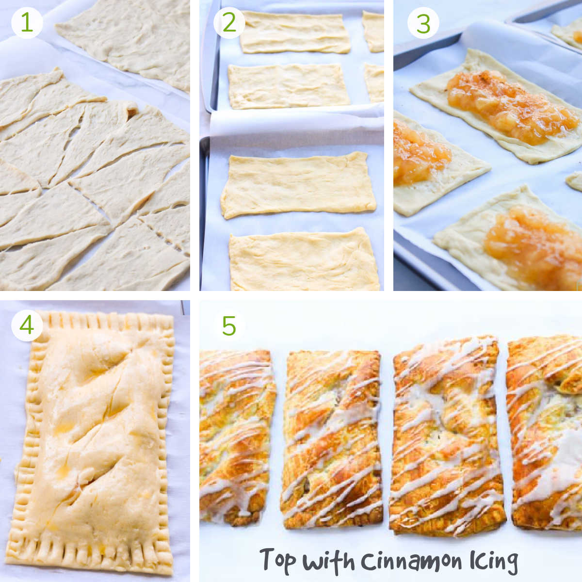 several process photos showing how to assemble the crescent roll dough, layering with the pie filling and sealing the edges.