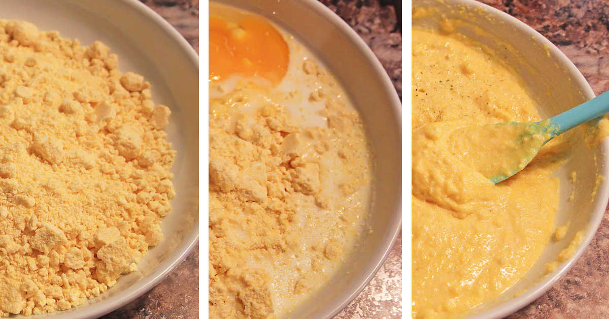 three photos showing the corn meal and flour, adding in the egg and then stirring to form the mix.