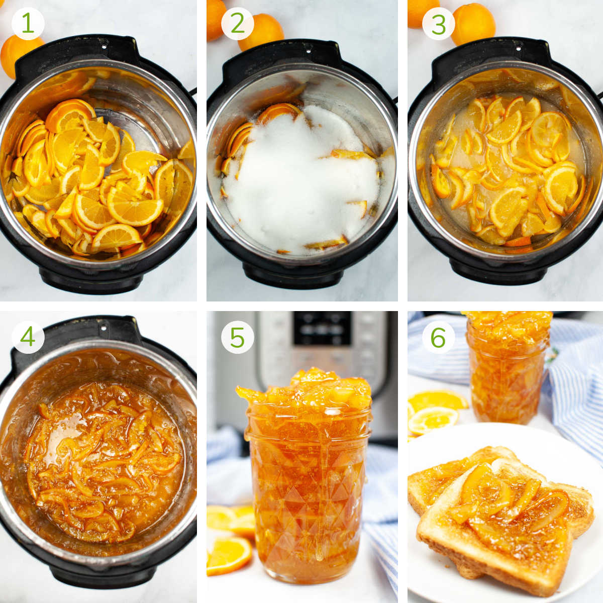 process photos showing how to fill the instant pot with the ingredients and then storing it in a glass jar.