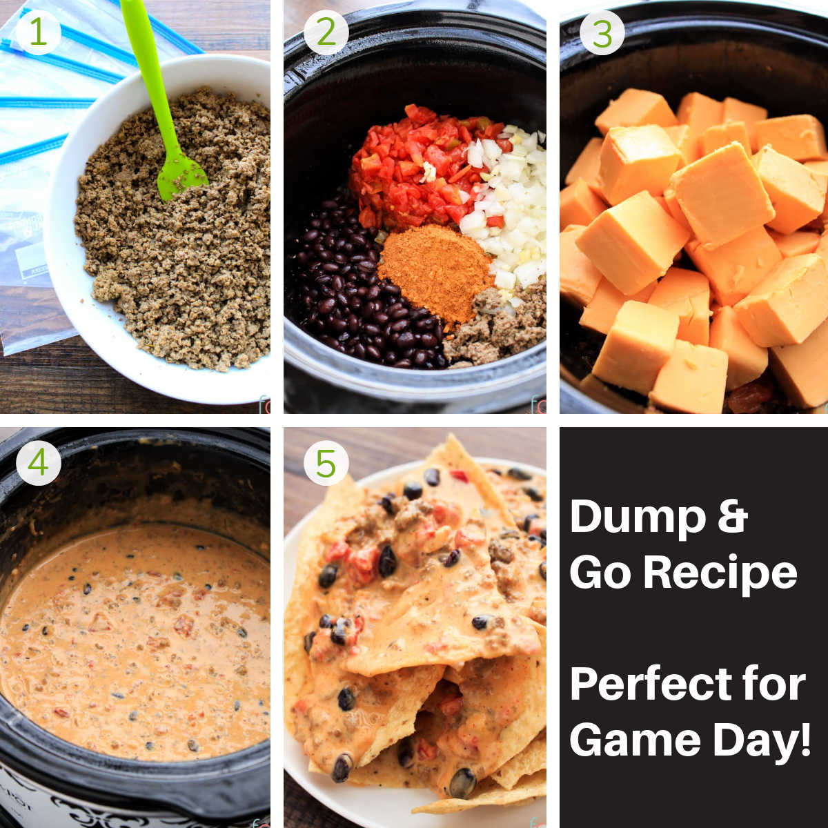 process photos showing browned ground beef, adding everything to the crock pot, melting the cheese and serving with chips.