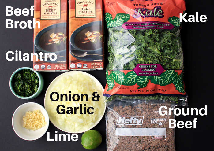 ingredients with labels for the beef and kale soup.