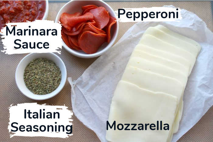 ingredients for the keto pizza rolls with labels.