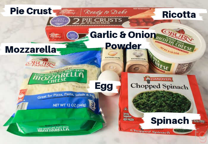 Ingredients for the Ricotta and Spinach Slab Pie on the counter with labels.