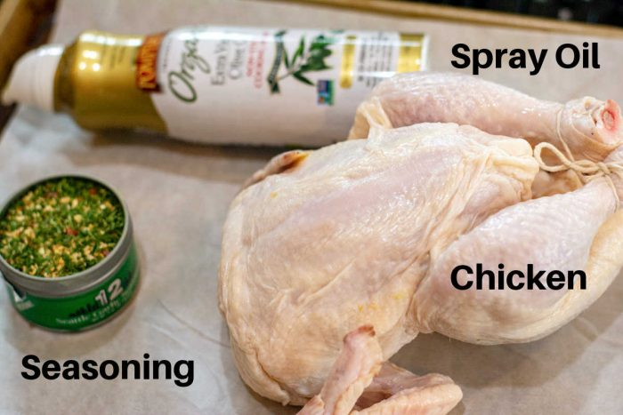 Simple ingredients for roasting a chicken in the rotisserie attachment in the air fryer.
