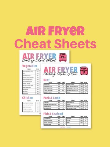 ait fryer cheat sheets on a yellow background.