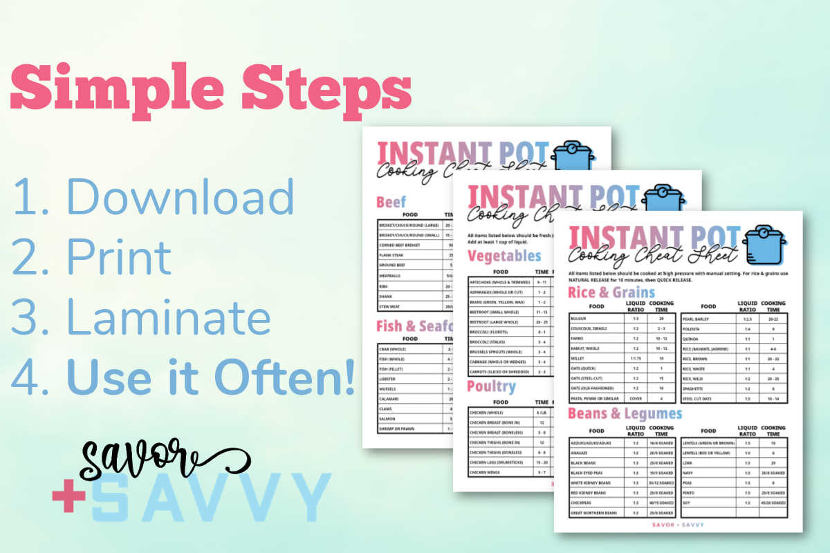 simple steps to download, print, laminate and use the air fryer cheat sheets to look up common cooking times.