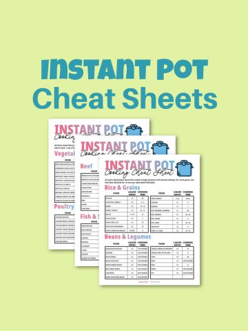 three photos of the cheat sheets on a pastel green background.