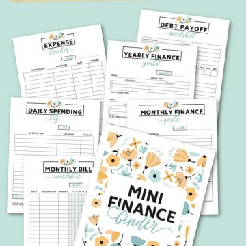 all of the pages of the mini financial binder on a baby blue background.