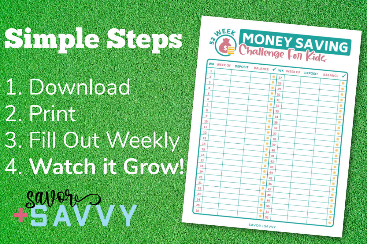 money savings challenge printable for kids and simple instructions.