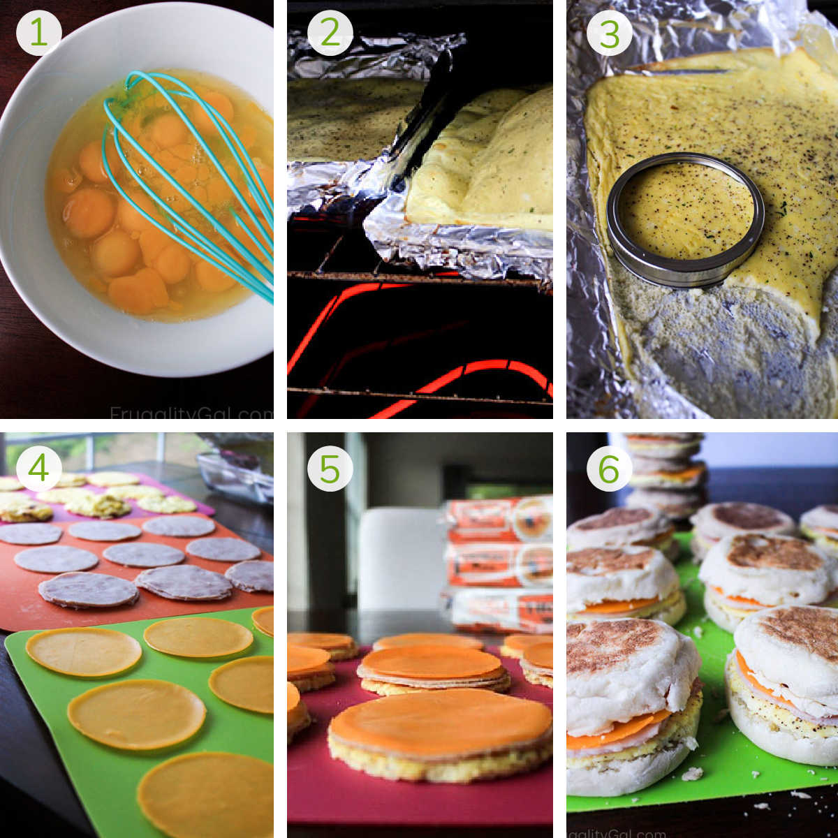six process shots showing how to make the eggs, stack the cheese and ham, and make the breakfast sandwiches.