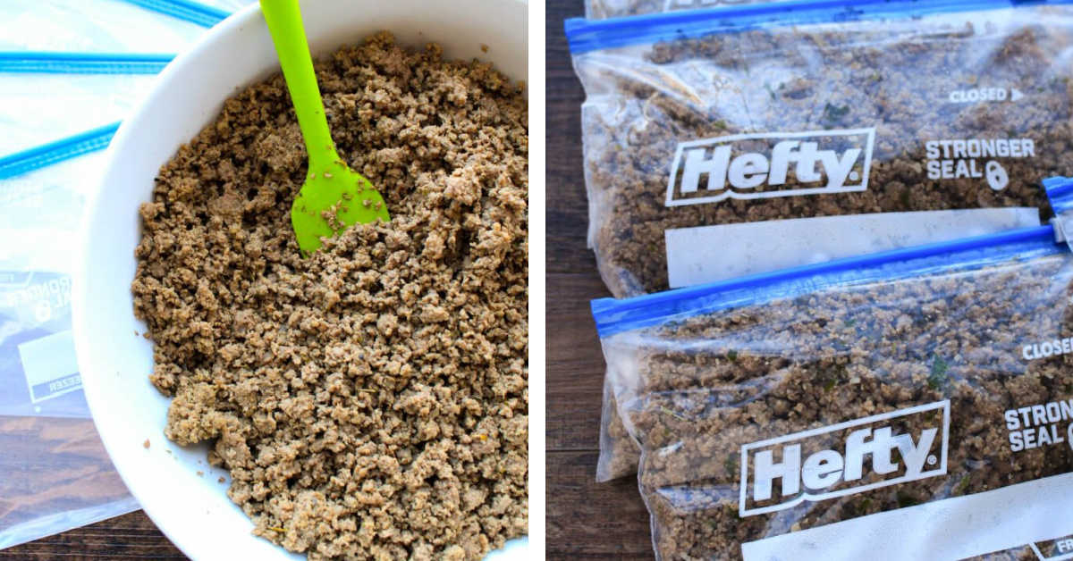 ground beef in a bowl, and then stored in freezer-safe Ziploc bags.