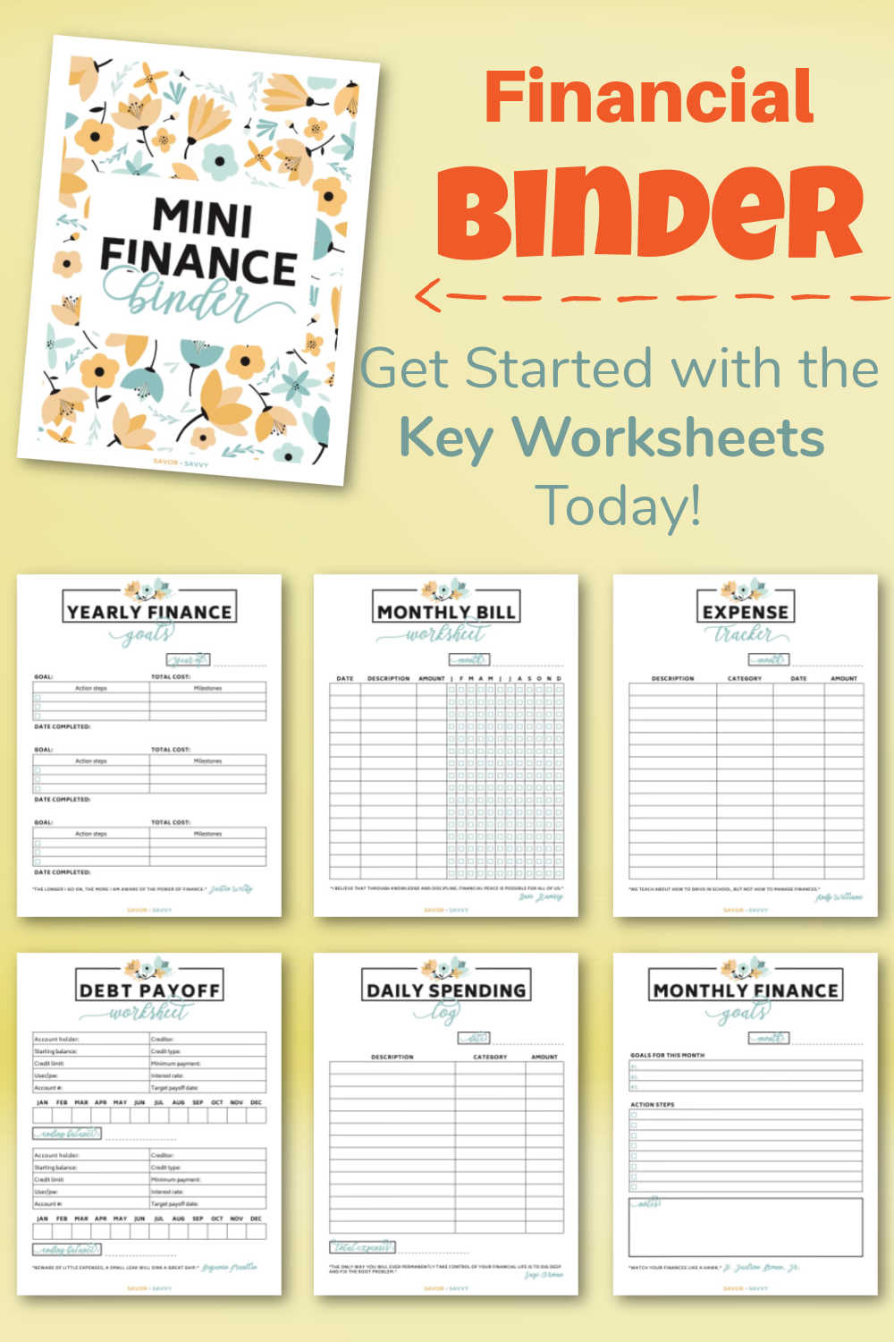 Mini Financial Binder {Free 7 Page Printable}