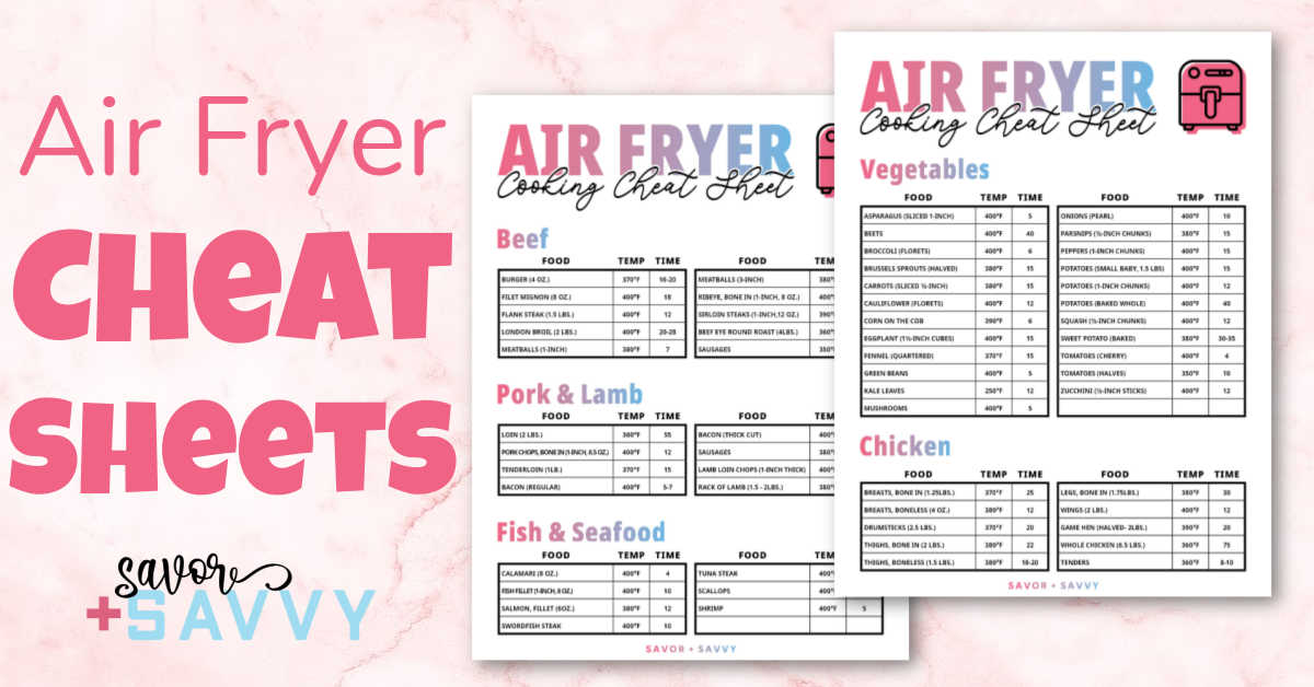 two air fryer printables with times and temperatures for the most common foods.