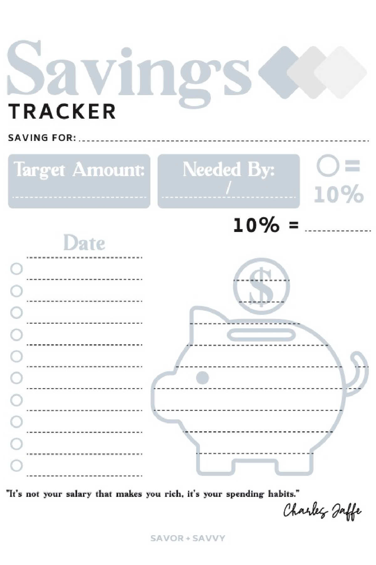 free savings tracker printable that is blank and ready to be filled out.