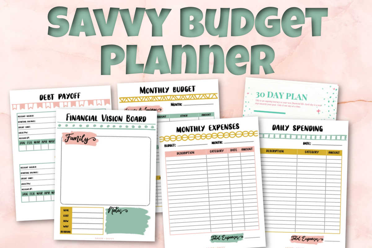 several budget worksheets and the panner title.