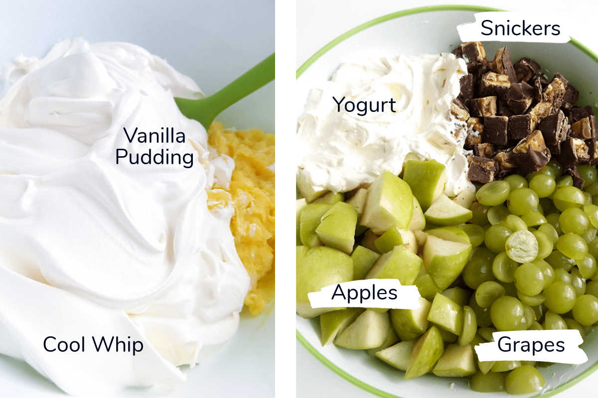two photos showing all of the ingredients for the salad with labels.