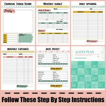 step by step instructions with the printables used to help you create a budget.