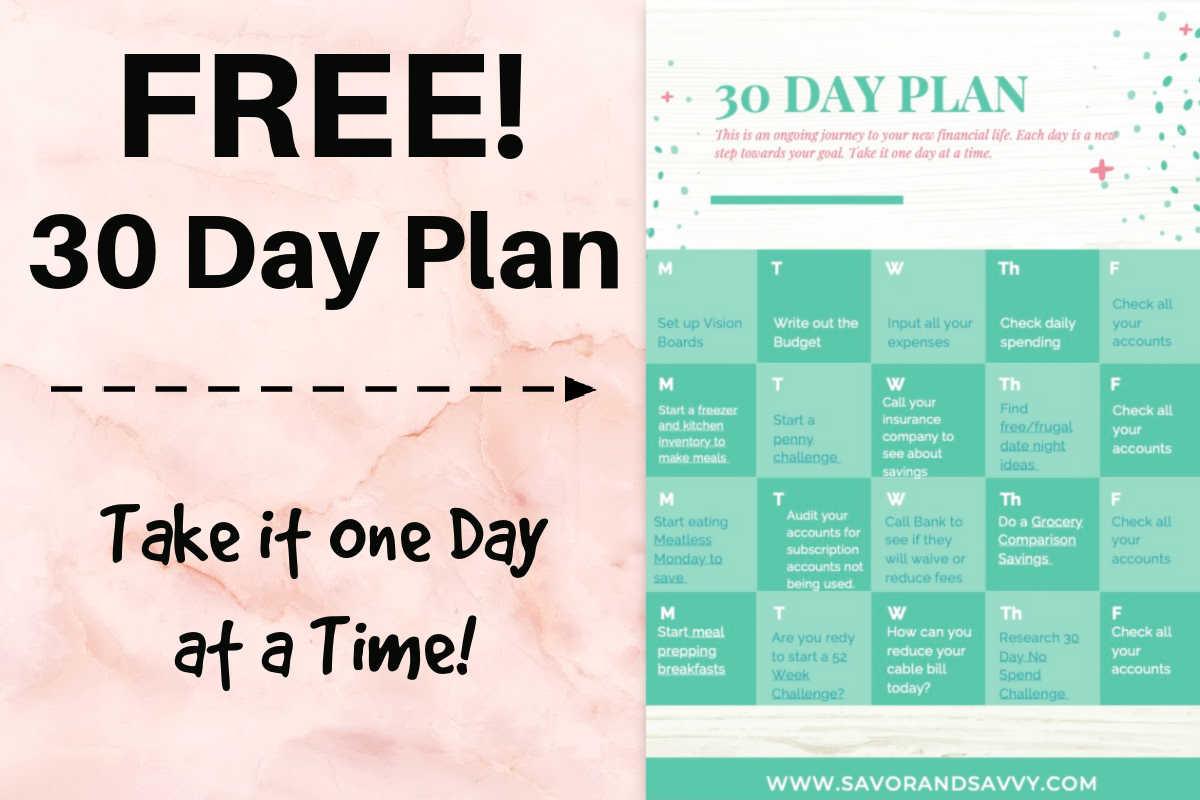 30 day calendar plan with daily tasks to accomplish on your way to a great budget.
