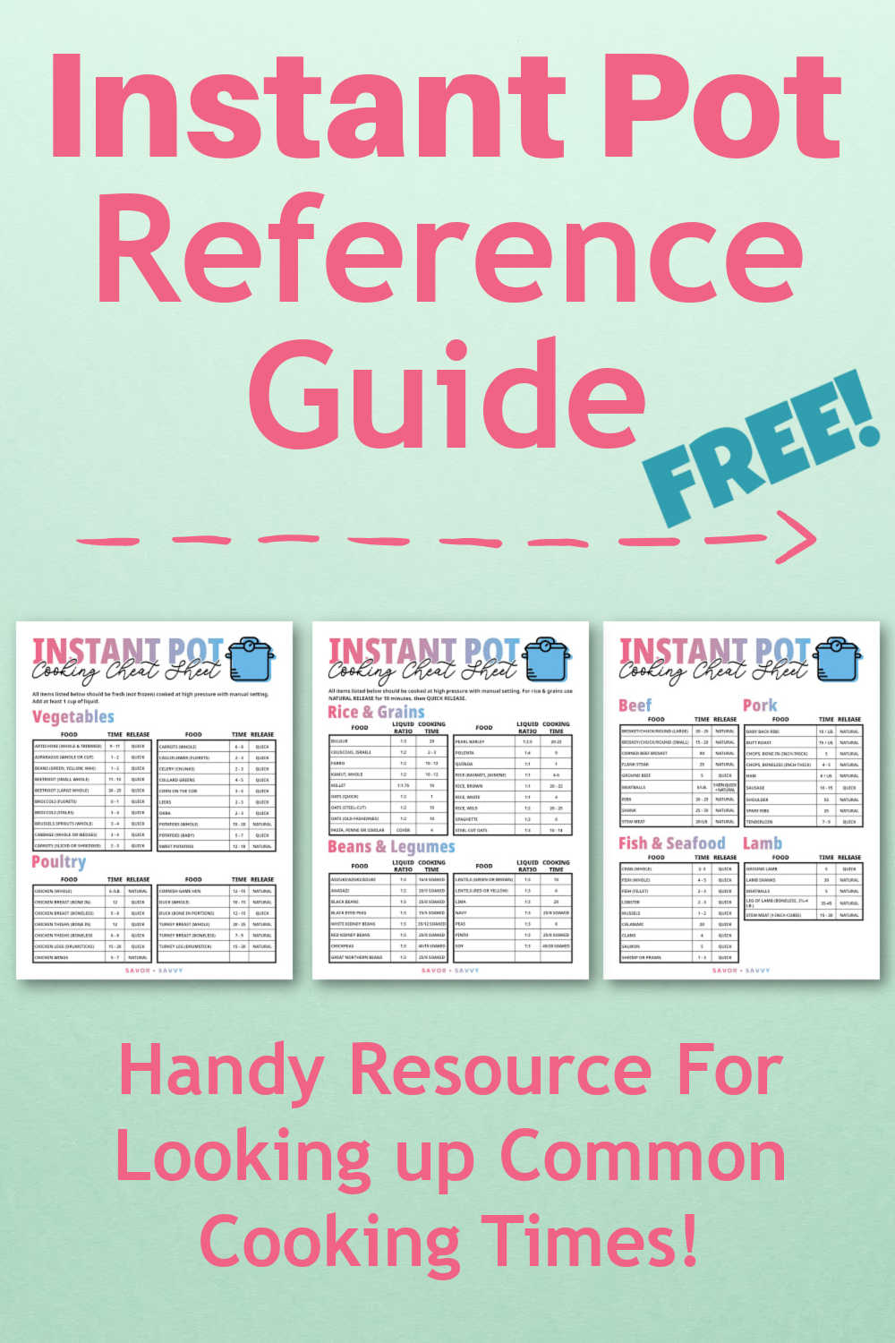 Ultimate Instant Pot Cooking Times Printable - Cheat Sheet