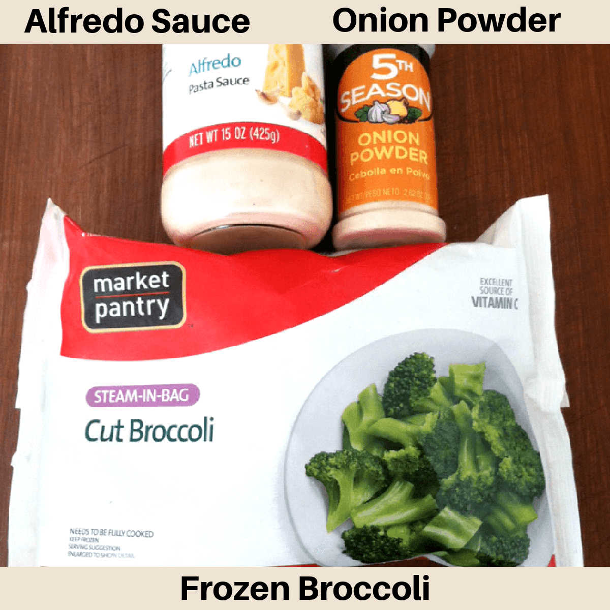 three ingredients for the broccoli alfredo sauce with labels.