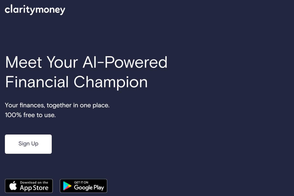 Homepage snapshot of ClarityMoney app.