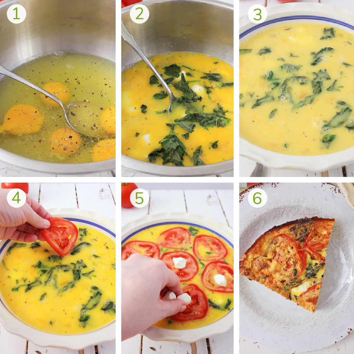 process photos showing mixing the eggs, adding to a dish, layering tomatoes and mozzarella and baking it.