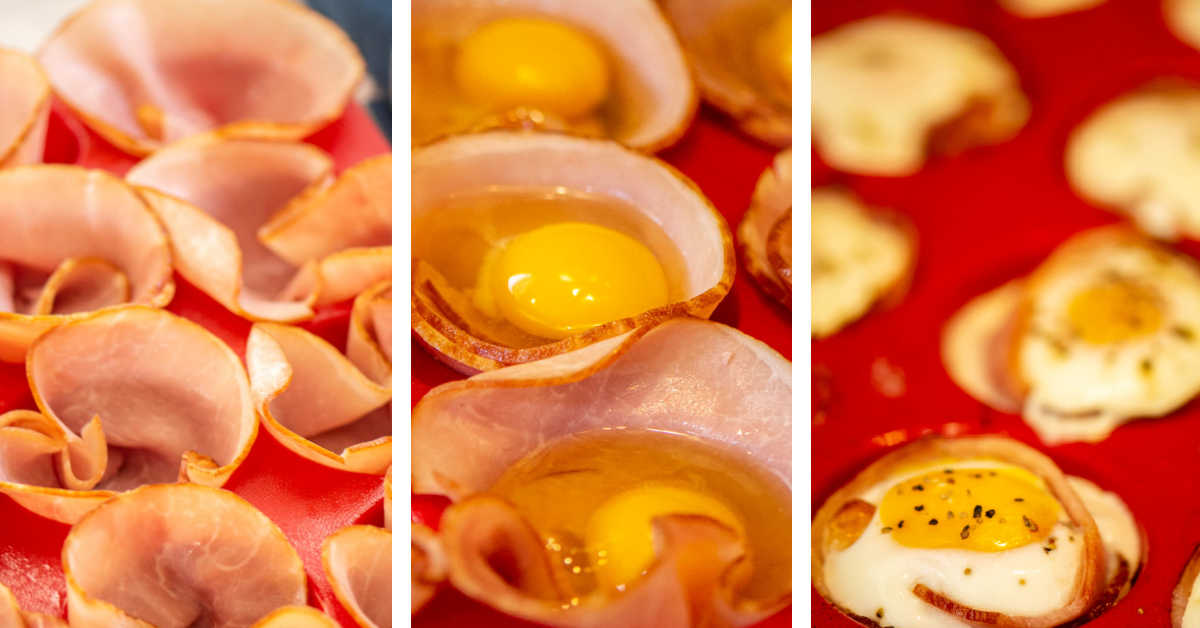 three photos showing how to line a tray with ham, cracking an egg into it, and baking it.