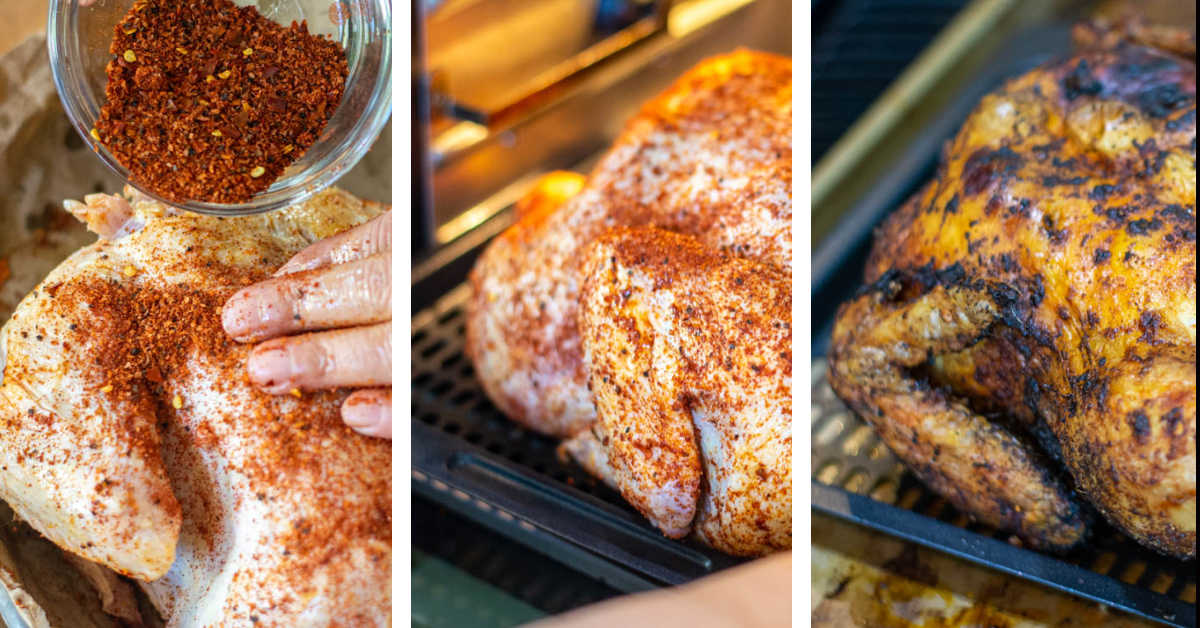 process photos showing rubbing the chicken with the dry rub, putting it in the air fryer and then removing it.