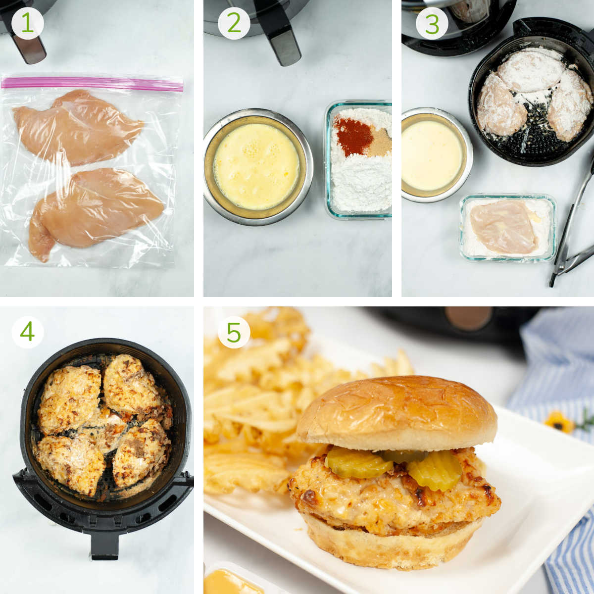 process photos showing how to make an air fryer Chick-filA sandwich.