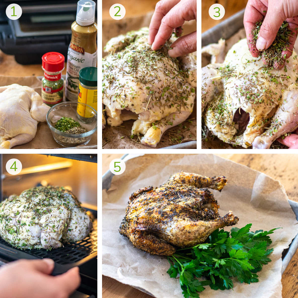process photos showing rubbing the Cornish hen with chives and herbs de Provence, adding it to the air fryer and cooking.