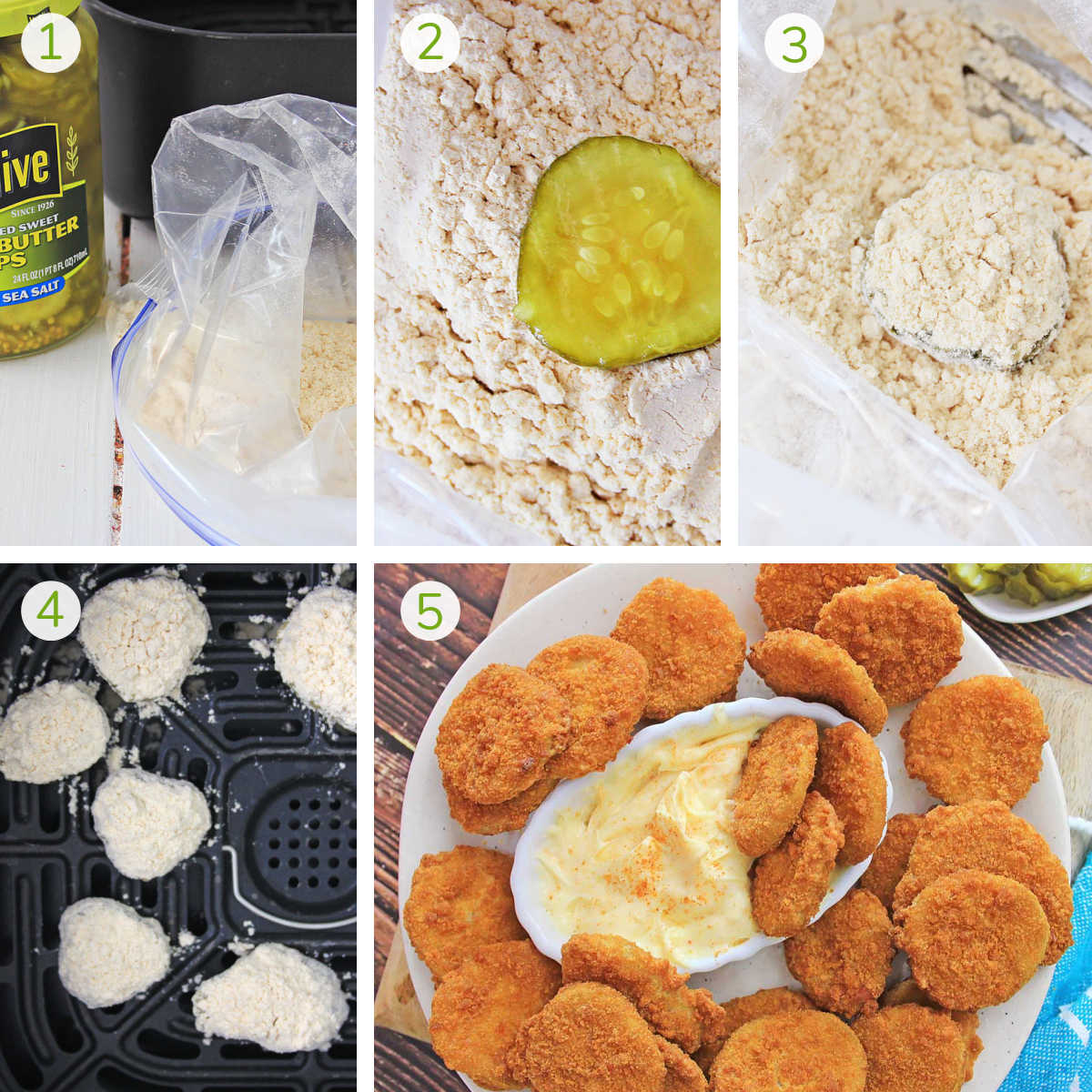 collage of several process photos showing how to coat the pickle in shake and bake and air frying it until it is golden brown.