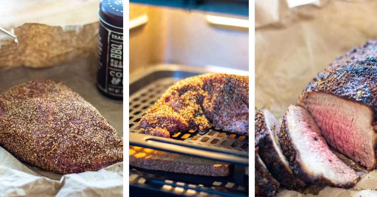 process photos showing coating the tri tip with a coffee rub, adding it to the air fryer and then slicing it.