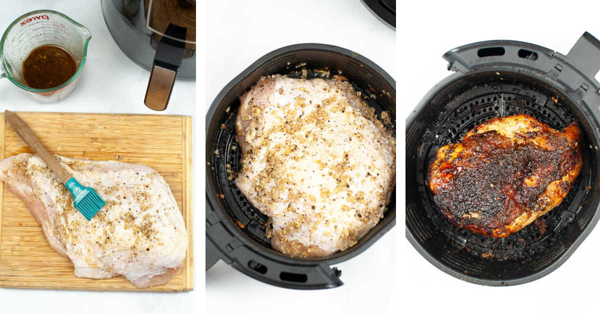 three photos showing basting the turkey, adding it to an air fryer basket, and after it has cooked.