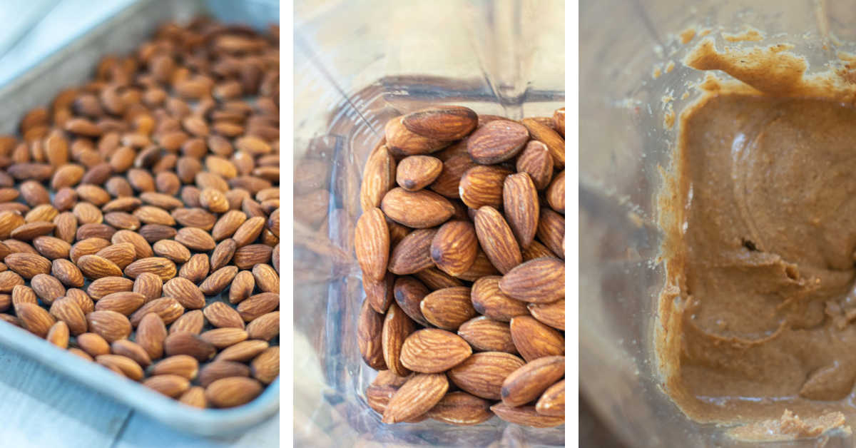 three photos showing almonds on a sheet pan, then in a vitamix and finally after it was blended into a butter.