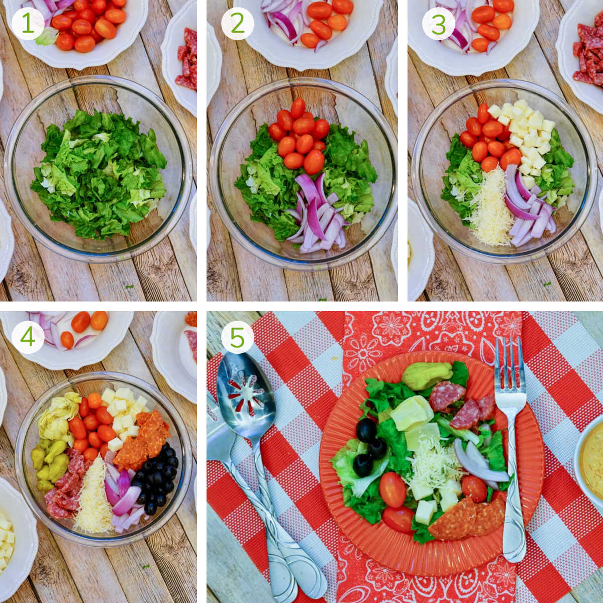 process photos showing how to add the various ingredients to form and serve the salad.